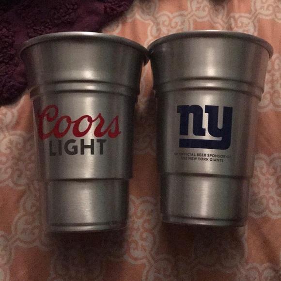 👑NWOT coors lt nfl ny giants beer cups aluminum NWT